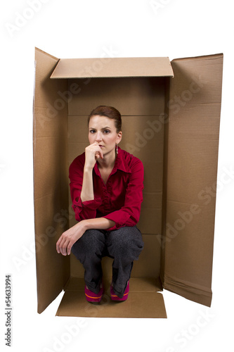 Businesswoman Feeling Boxed In