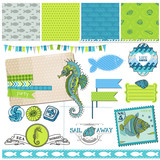 Scrapbook Design Element - Tropical Fish and Sea Horse Theme