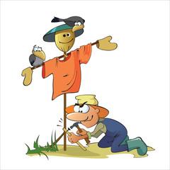 Gardener Making A Scarecrow