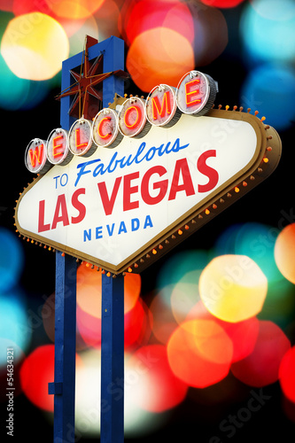 Foto op Canvas Las Vegas Welcome To Las Vegas neon sign