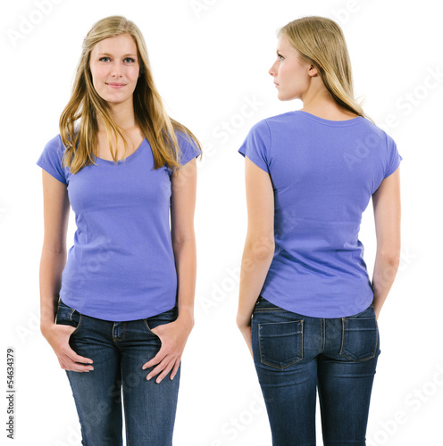 Blond woman with blank purple shirt