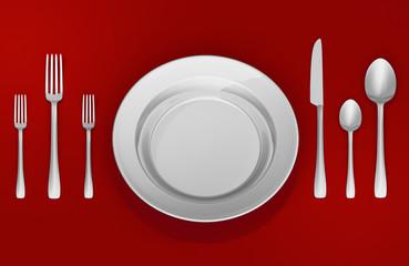 Zastawa stołowa na czerwonym tle