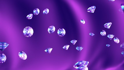 Abstract  background with sparkling diamonds and magenta silk.