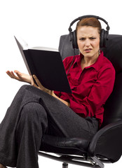 woman learning with audio books