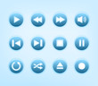 Set of round blue audio player buttons
