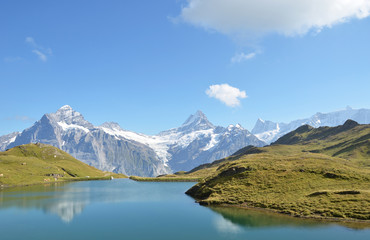Bachalp lake in Swiss Bernese Alps