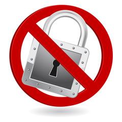padlock forbidden sign icon