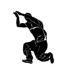 Vector drawing jumping man. Silhouettes athletes