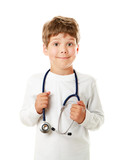 A little smiling doctor with stethoscope