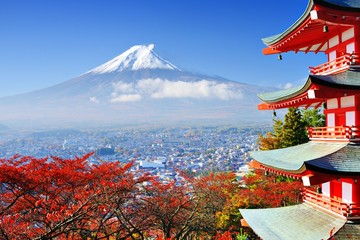 Mt. Fuji in Autumn with Chureito Pagoda