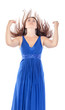 Portrait of a beautiful young woman in blue dress with streaming