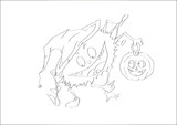contour of  spider and pumpkin celebrating the Halloween