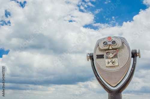 Coin Opearated Binoculars against Cloudy Sky