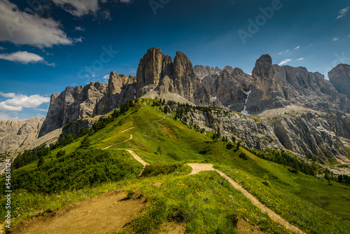 Italy Dolomites moutnain at summer -  Passo Gardena
