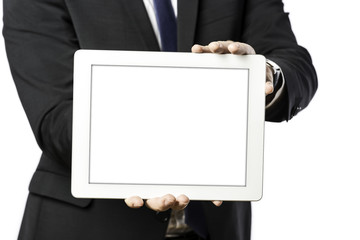 business man holds a tablet computer