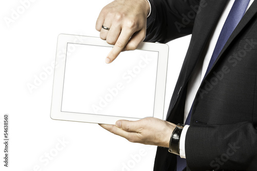 Business man shows something on his tablet computer