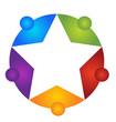Teamwork around star logo vector