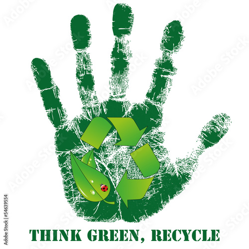 Hand print with recycle icon