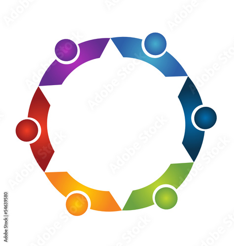 Teamwork people in a hug logo vector