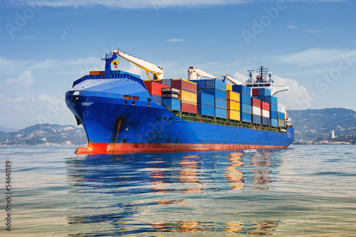 canvas print picture cargo ship full of containers