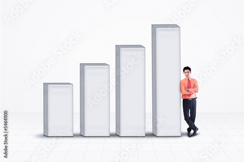 Businessman and bar chart - isolated