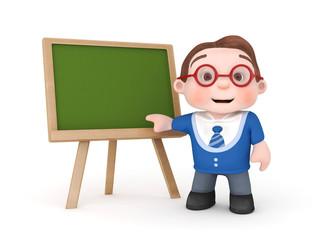 cute boy with blackboard