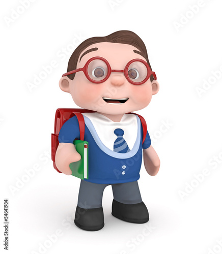 schoolboy with bag and book