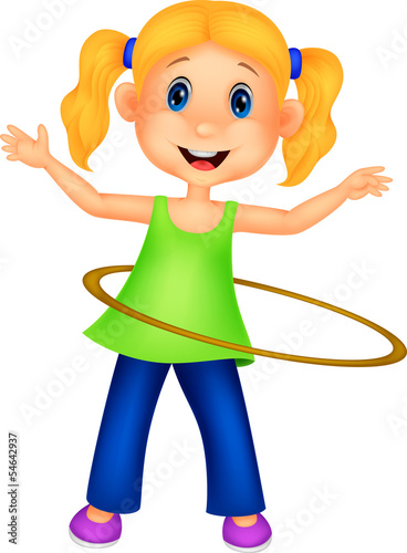 Cute girl twirling hula hoop