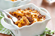 Gratin with macaroni, meat and cheese