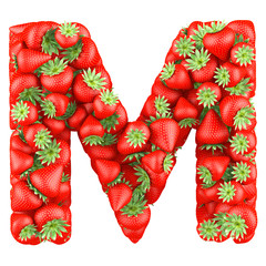 Letter - M made of Strawberry. Isolated on a white.