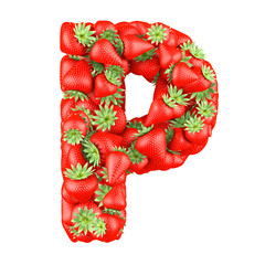 Letter - P made of Strawberry. Isolated on a white.