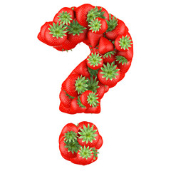 Question mark made from Strawberry. Isolated on a white.
