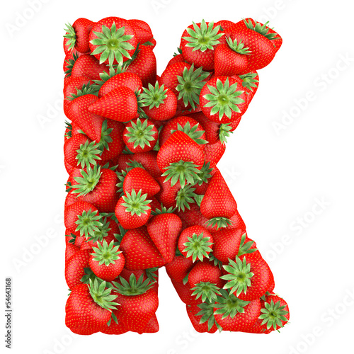 Letter - K made of Strawberry. Isolated on a white.