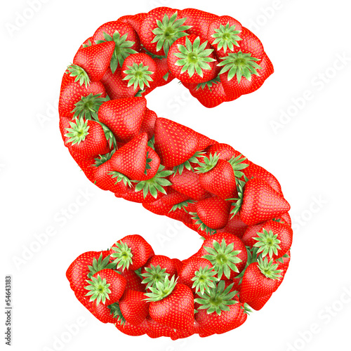 Letter - S made of Strawberry. Isolated on a white.