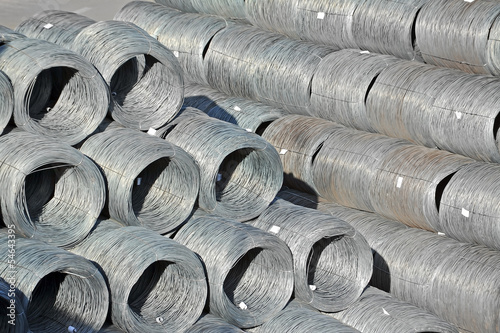 Stacked steel wire roll ready for shipment in port