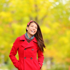 Autumn people - fall woman happy