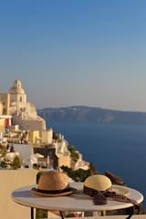romantic vacation in Santorini concept