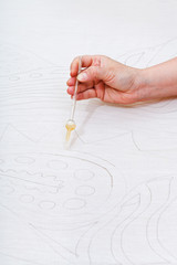 reserve contour drawing on silk