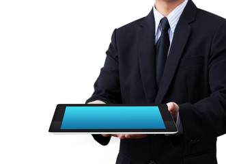 hands holding a tablet touch computer gadget