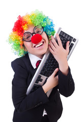 Funny clown with keyboard on white