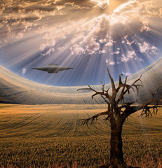 Alien craft in landscape