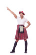 Funny scotsman dancing on white