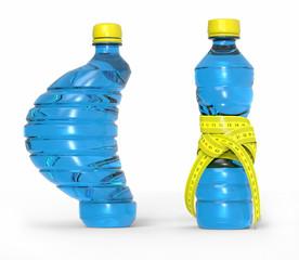 Botella de plástico con metro