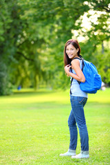 Student girl portrait wearing backpack outdoor