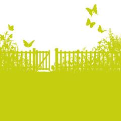 Gartenzaun, Gartentor und Rasen