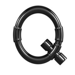Black Plastic Alphabet Q