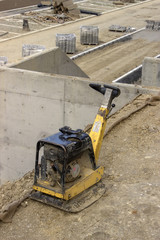vibrating machine at construction site