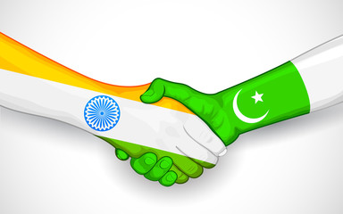 Handshake between India and Pakistan