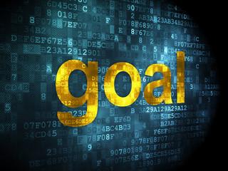 Advertising concept: Goal on digital background