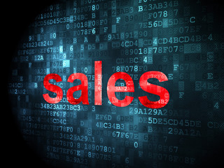 Advertising concept: Sales on digital background
